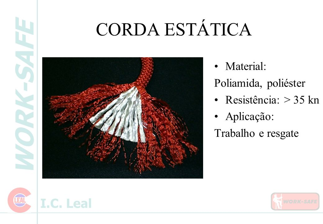 CORDA ESTÁTICA Material: Poliamida, poliéster Resistência: > 35 kn