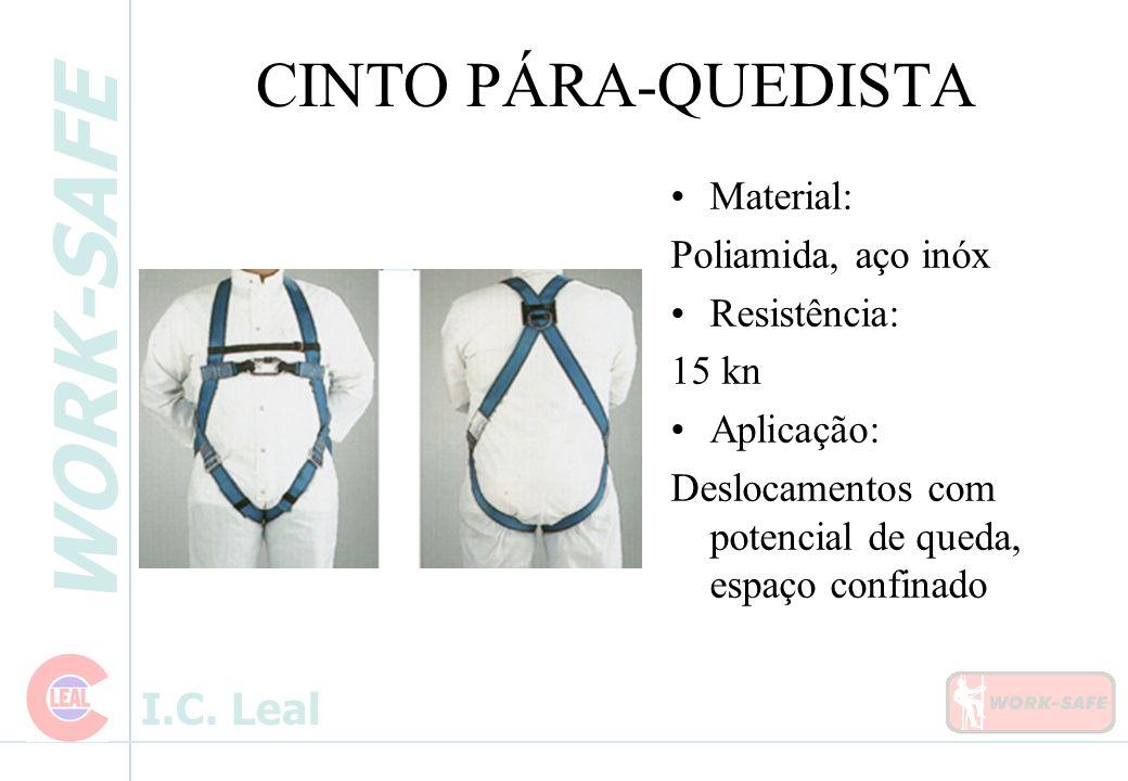 CINTO PÁRA-QUEDISTA Material: Poliamida, aço inóx Resistência: 15 kn