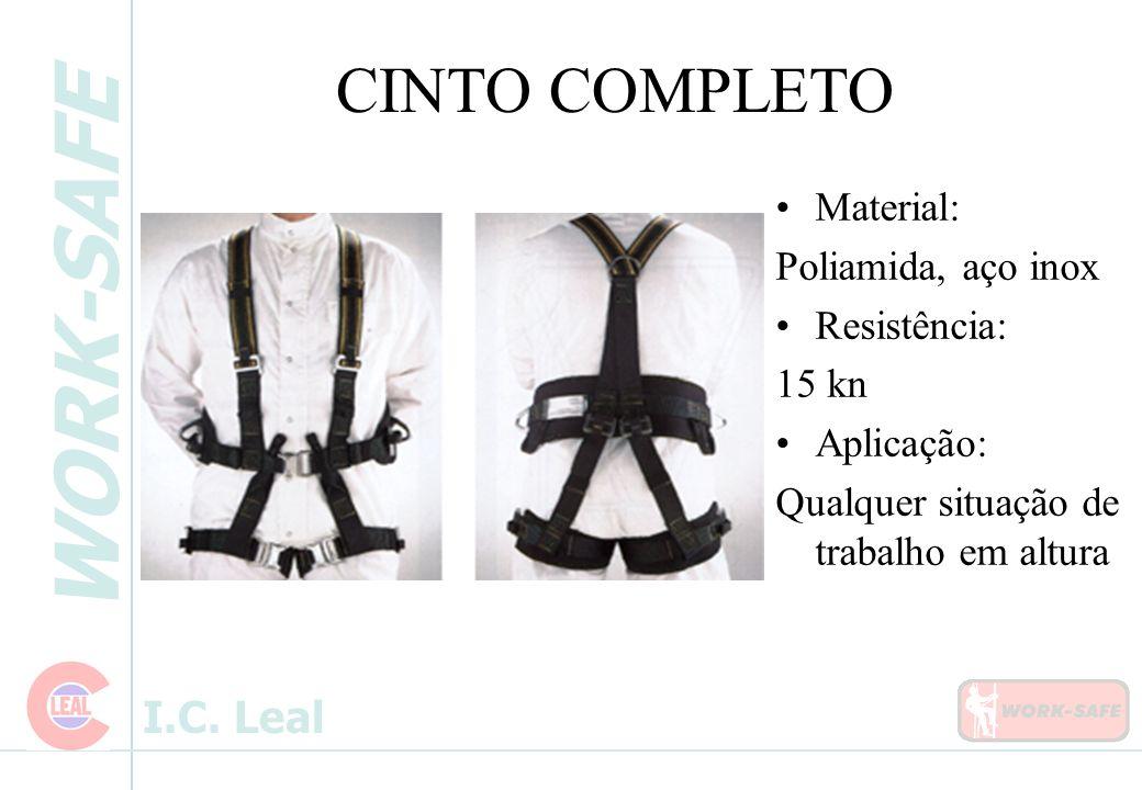 CINTO COMPLETO Material: Poliamida, aço inox Resistência: 15 kn