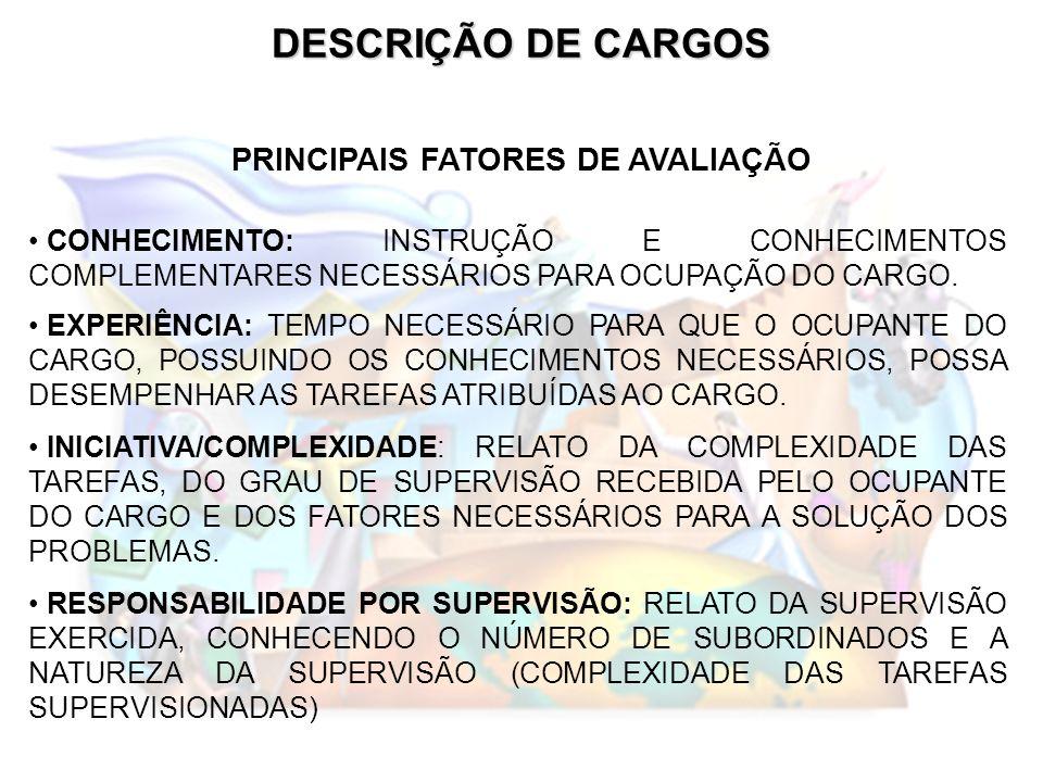 PRINCIPAIS FATORES DE AVALIAÇÃO