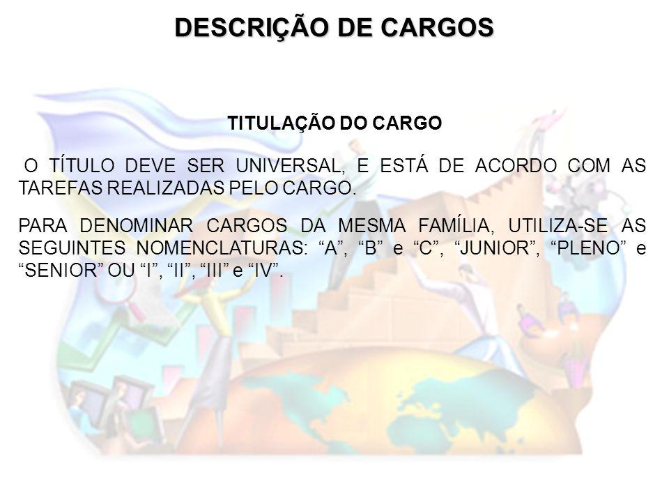 DESCRIÇÃO DE CARGOS TITULAÇÃO DO CARGO