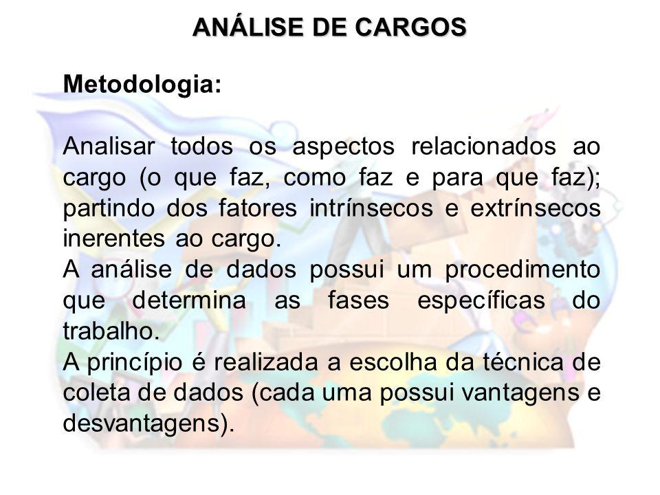 ANÁLISE DE CARGOS Metodologia: