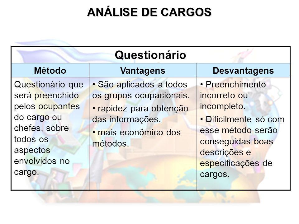 ANÁLISE DE CARGOS Questionário