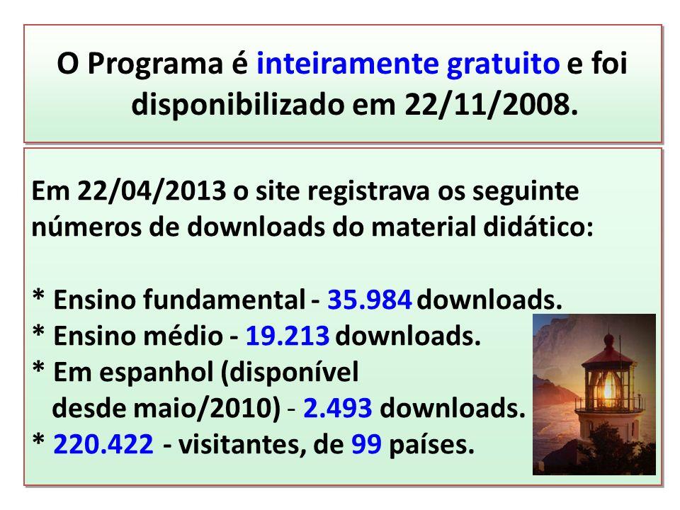 O Programa é inteiramente gratuito e foi disponibilizado em 22/11/2008.