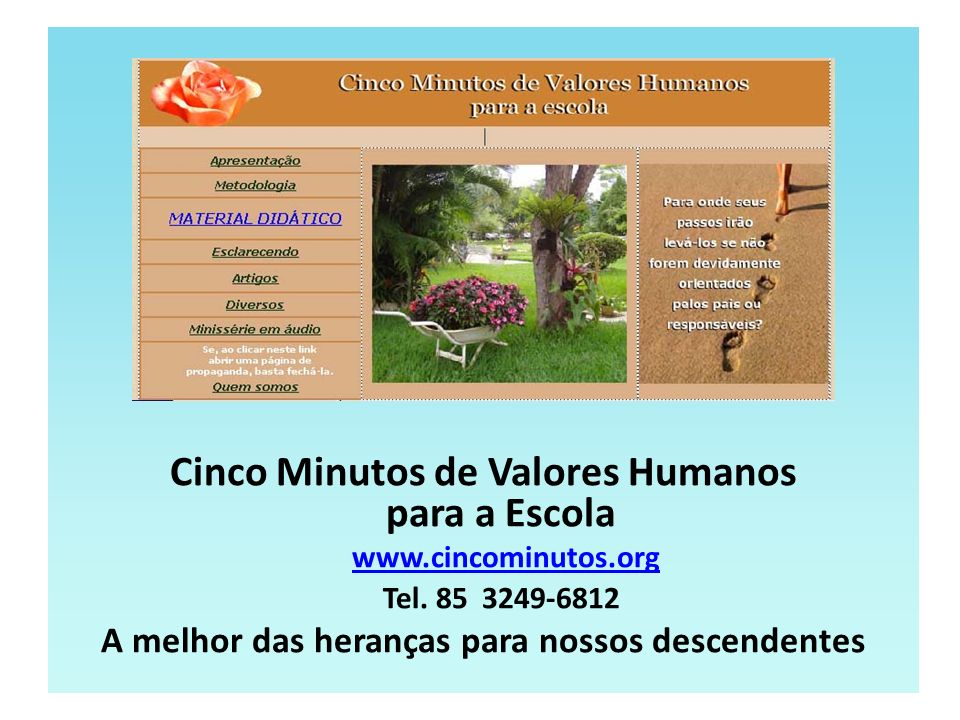 Cinco Minutos de Valores Humanos para a Escola www.cincominutos.org