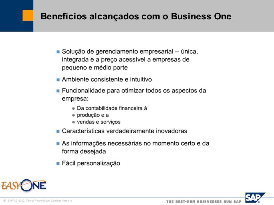 Benefícios alcançados com o Business One
