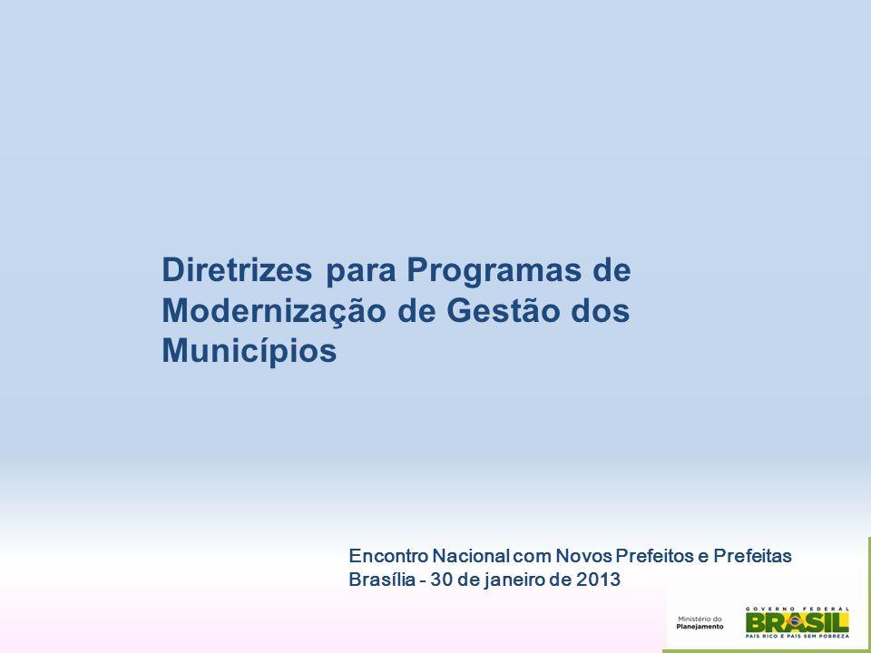 Diretrizes para Programas de Modernização de Gestão dos Municípios