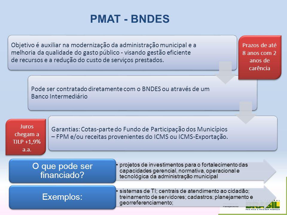 PMAT - BNDES O que pode ser financiado Exemplos: