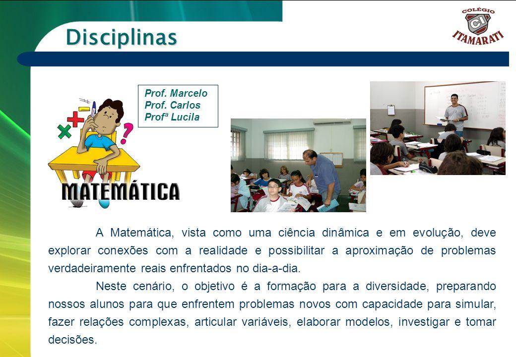 Disciplinas Prof. Marcelo. Prof. Carlos. Profª Lucila.