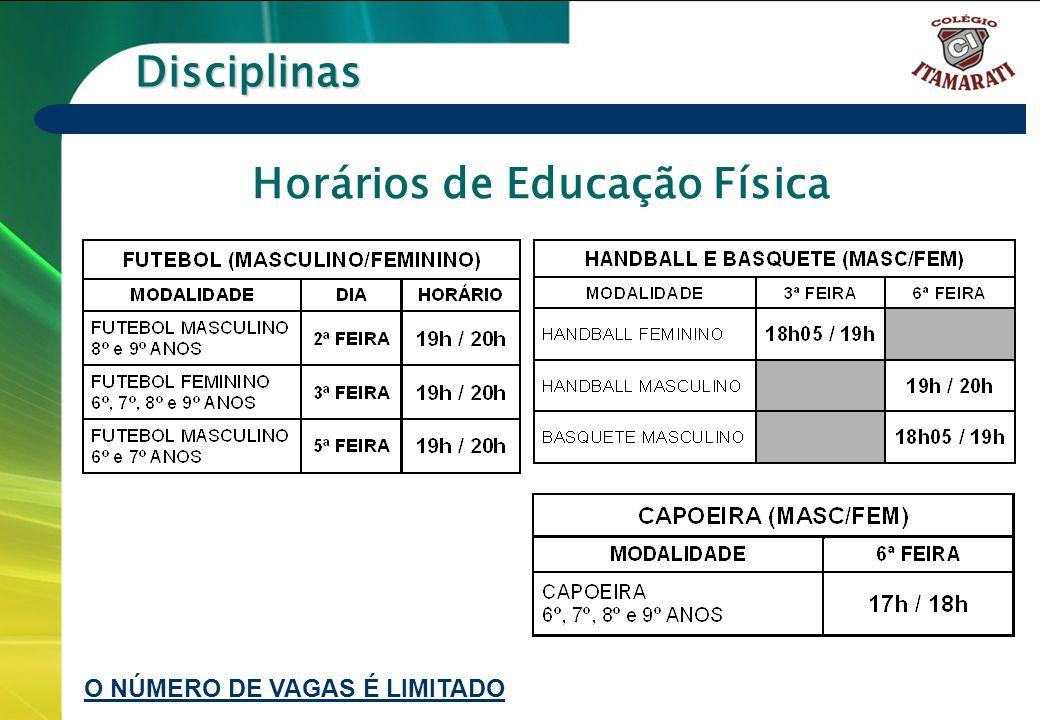 Horários de Educação Física