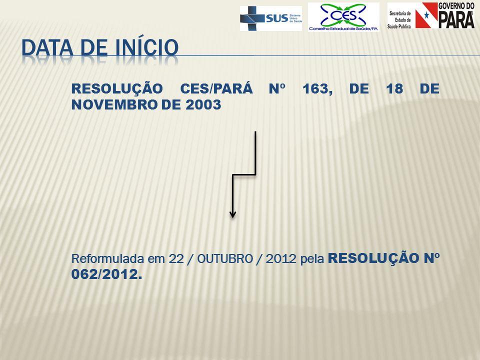 DATA DE INÍCIO RESOLUÇÃO CES/PARÁ Nº 163, DE 18 DE NOVEMBRO DE 2003 Reformulada em 22 / OUTUBRO / 2012 pela RESOLUÇÃO Nº 062/2012.