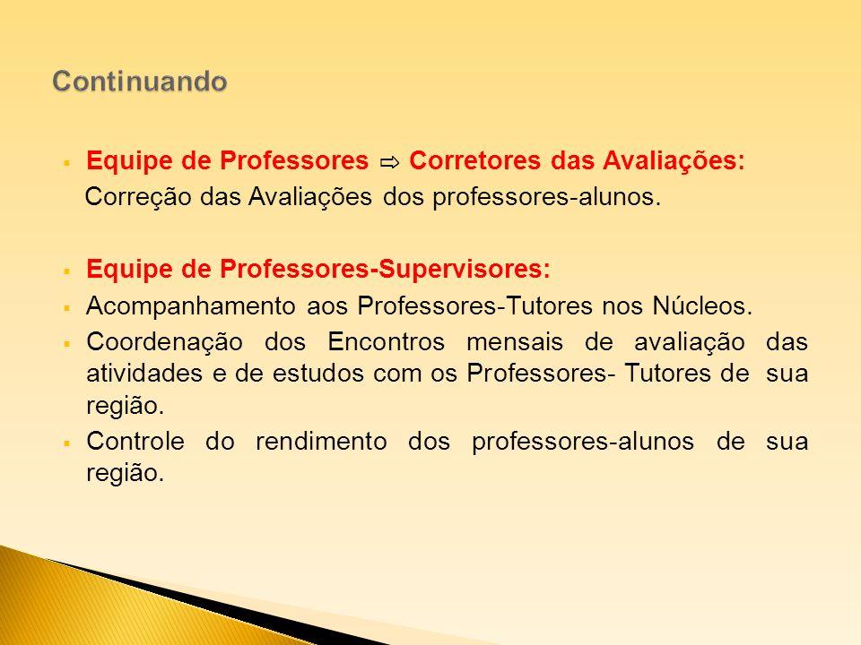 Continuando Equipe de Professores ⇨ Corretores das Avaliações: