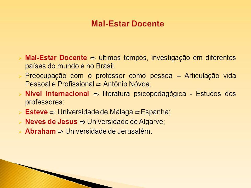 Mal-Estar Docente Mal-Estar Docente ⇨ últimos tempos, investigação em diferentes países do mundo e no Brasil.