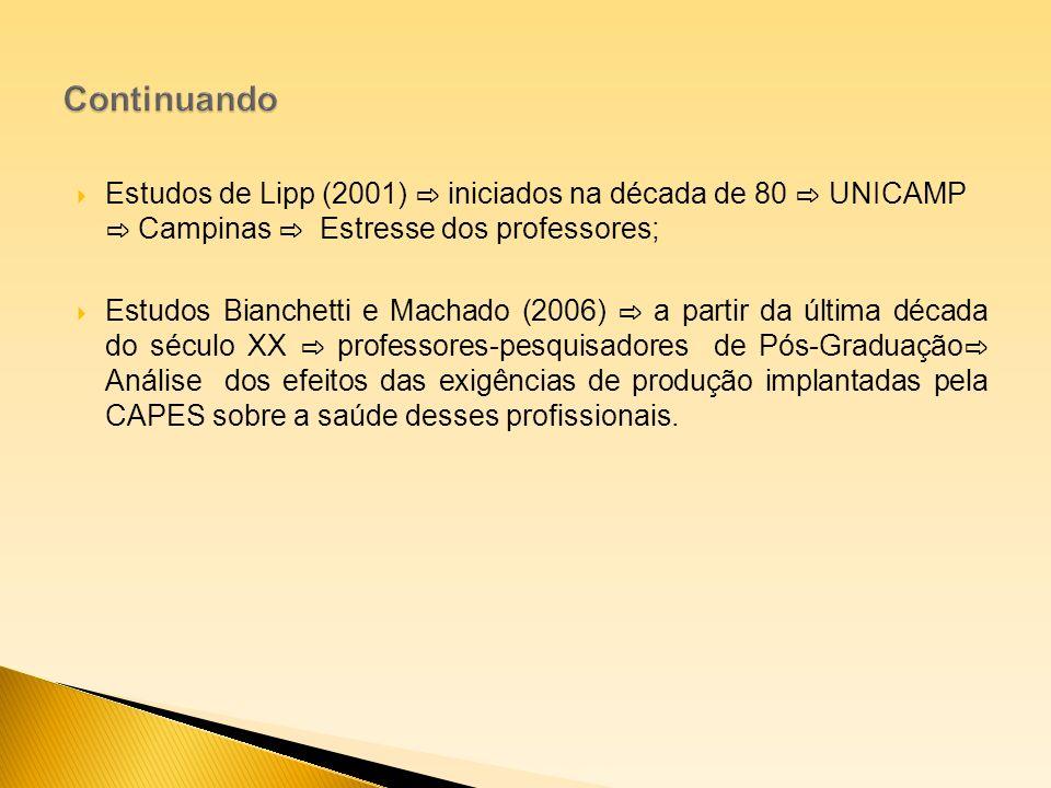 Continuando Estudos de Lipp (2001) ⇨ iniciados na década de 80 ⇨ UNICAMP ⇨ Campinas ⇨ Estresse dos professores;