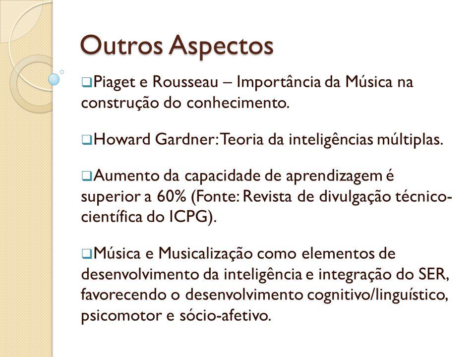 Outros Aspectos Piaget e Rousseau – Importância da Música na construção do conhecimento. Howard Gardner: Teoria da inteligências múltiplas.