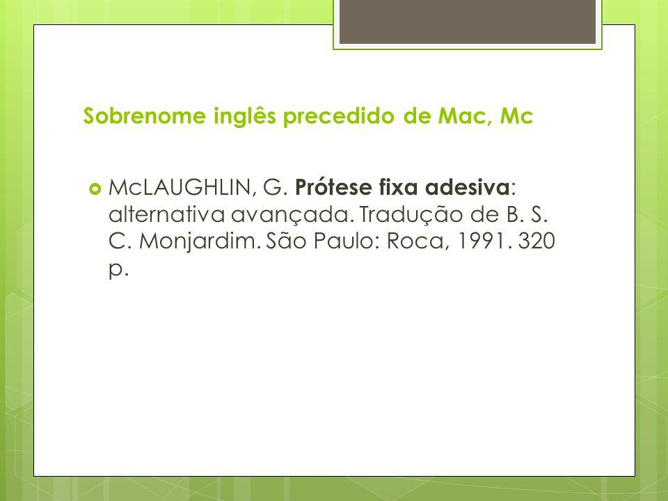 Sobrenome inglês precedido de Mac, Mc