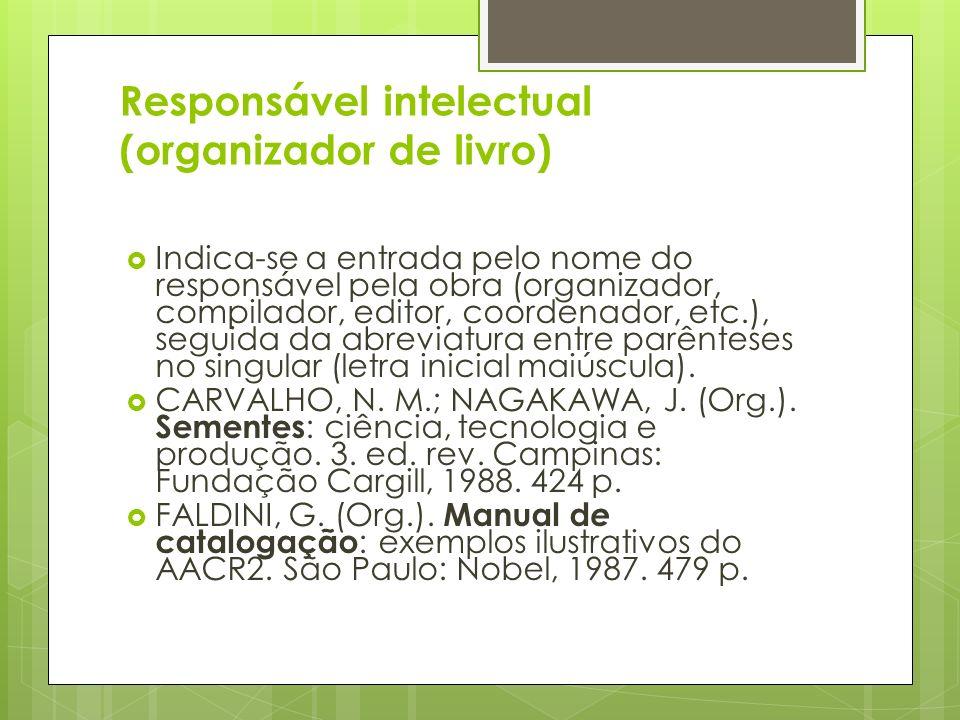 Responsável intelectual (organizador de livro)