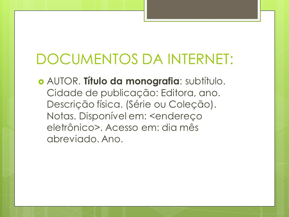 DOCUMENTOS DA INTERNET: