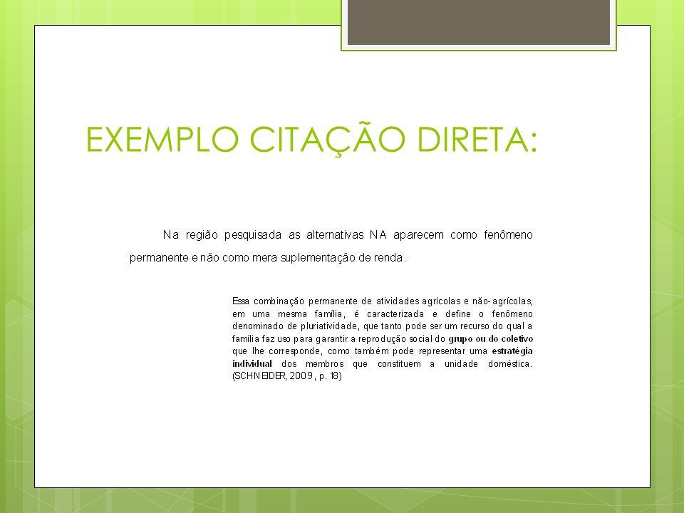 EXEMPLO CITAÇÃO DIRETA: