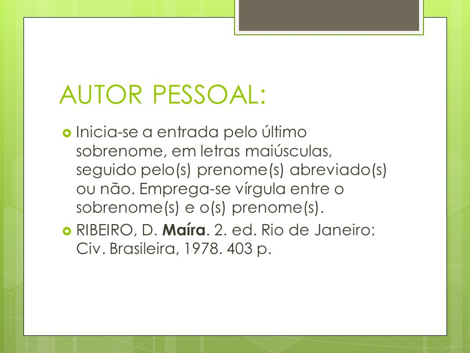 AUTOR PESSOAL:
