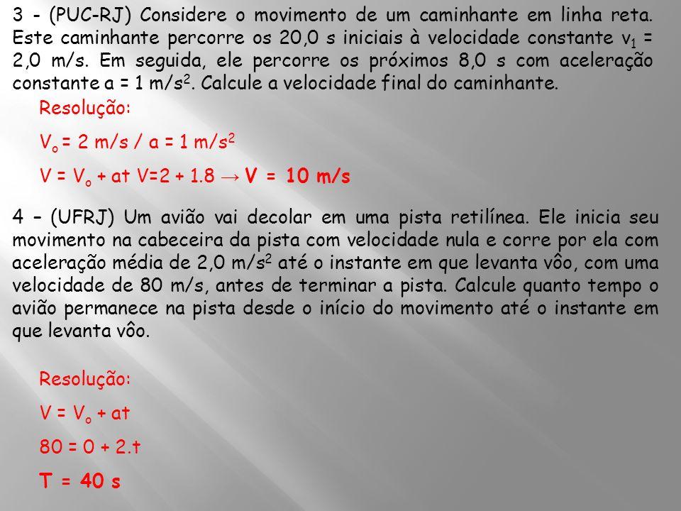 3 - (PUC-RJ) Considere o movimento de um caminhante em linha reta