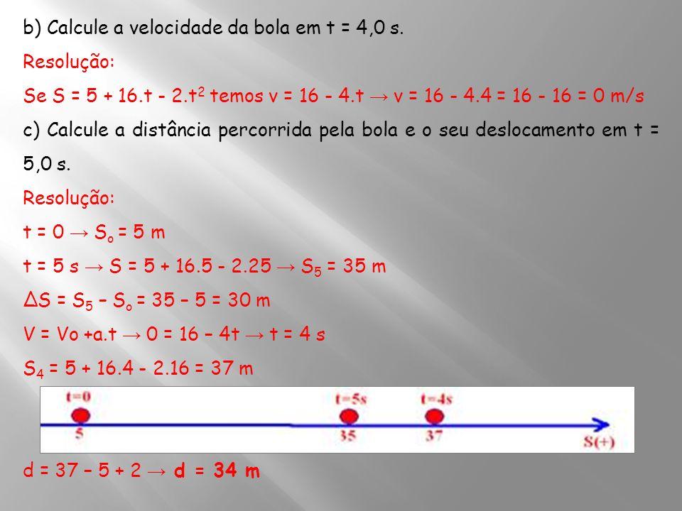 b) Calcule a velocidade da bola em t = 4,0 s.