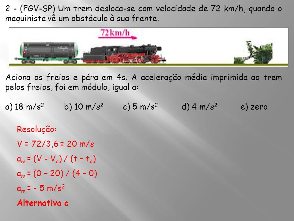 2 - (FGV-SP) Um trem desloca-se com velocidade de 72 km/h, quando o maquinista vê um obstáculo à sua frente.