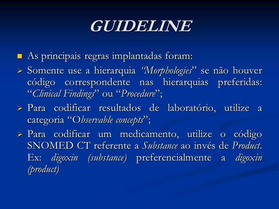 GUIDELINE As principais regras implantadas foram: