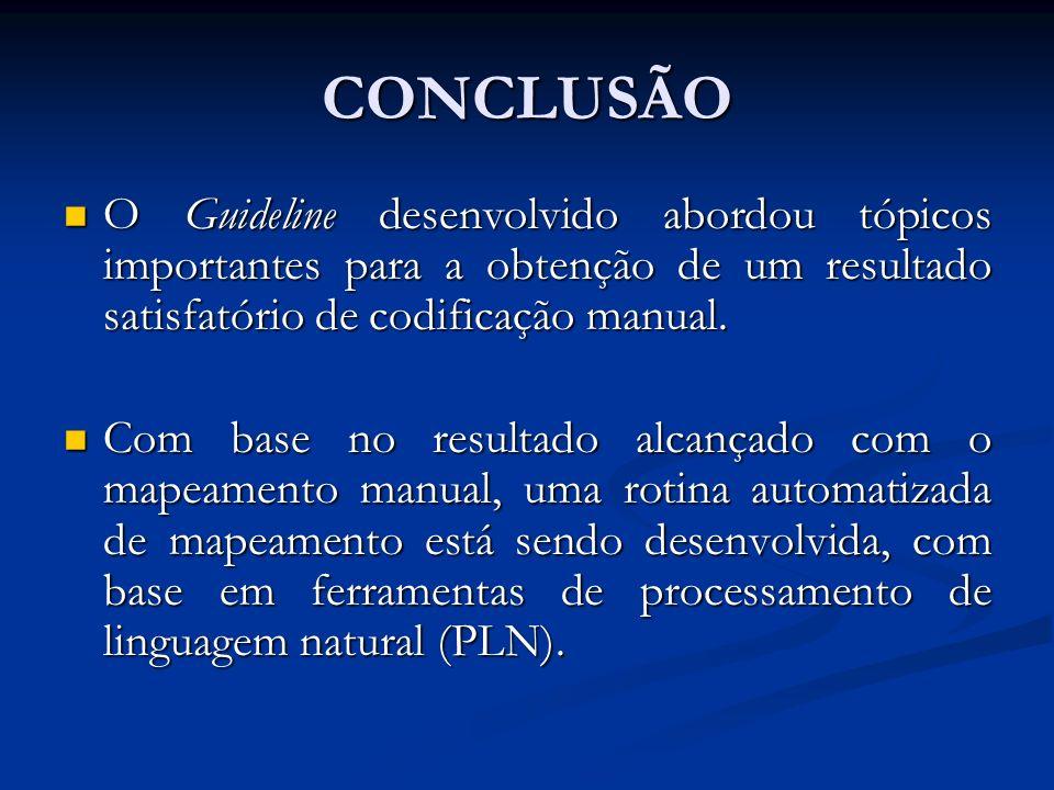 CONCLUSÃO O Guideline desenvolvido abordou tópicos importantes para a obtenção de um resultado satisfatório de codificação manual.