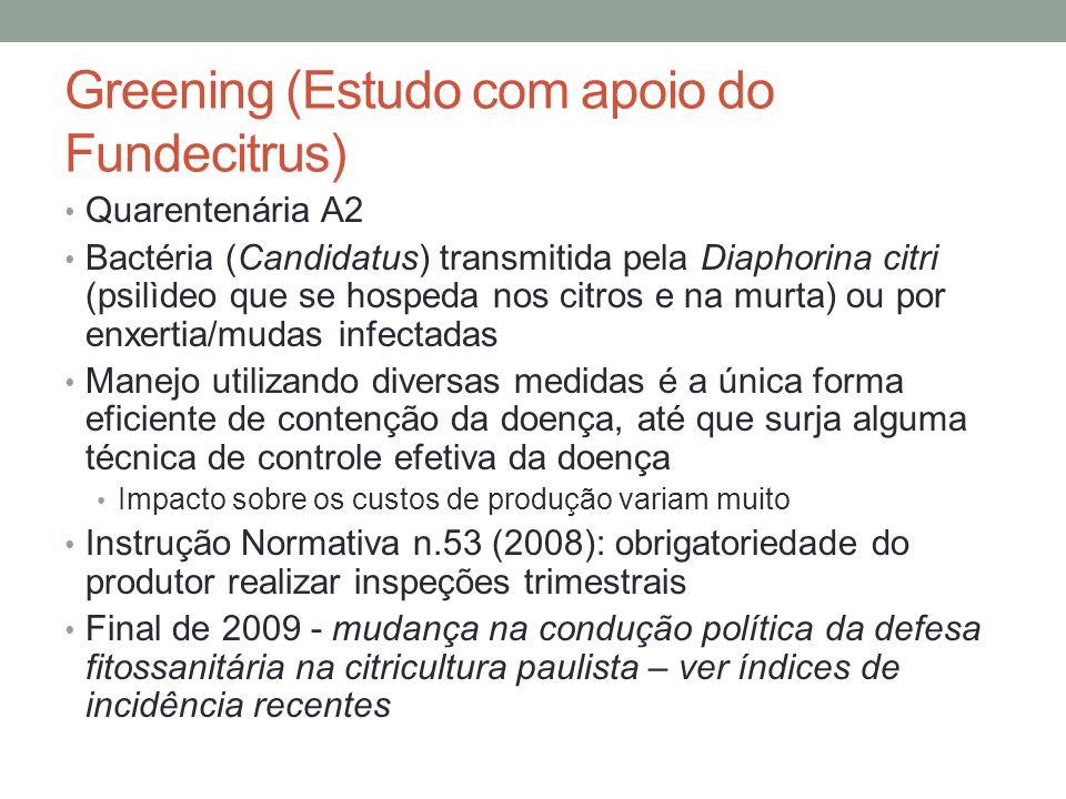 Greening (Estudo com apoio do Fundecitrus)