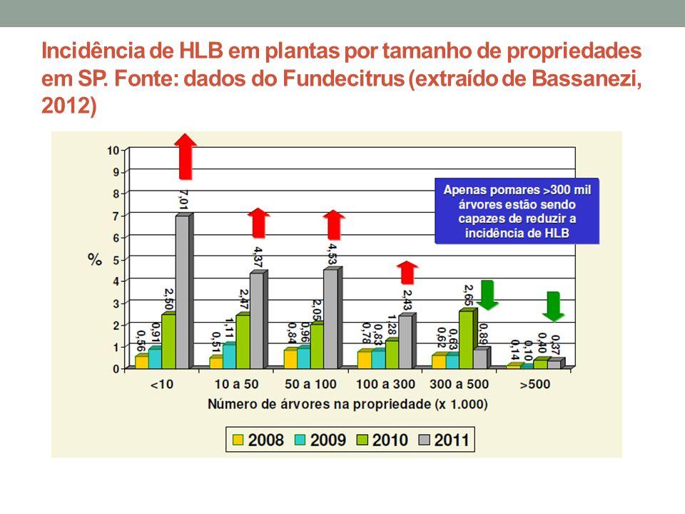 Incidência de HLB em plantas por tamanho de propriedades em SP