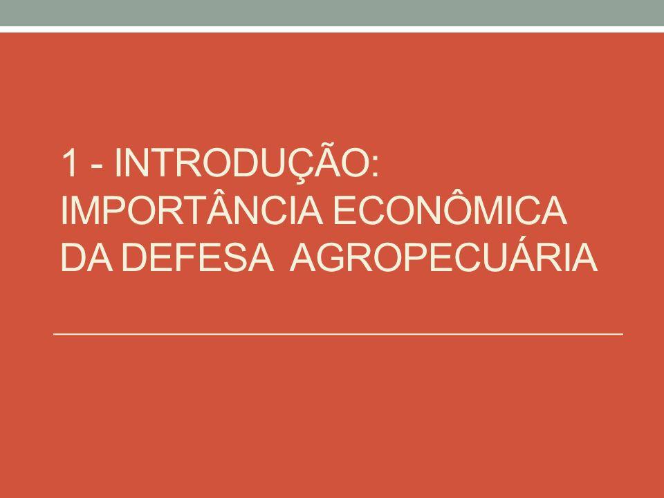1 - Introdução: Importância econômica da Defesa Agropecuária