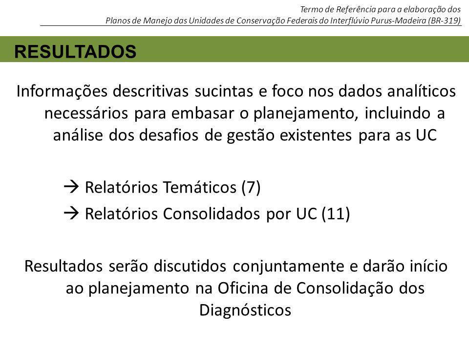  Relatórios Temáticos (7)  Relatórios Consolidados por UC (11)