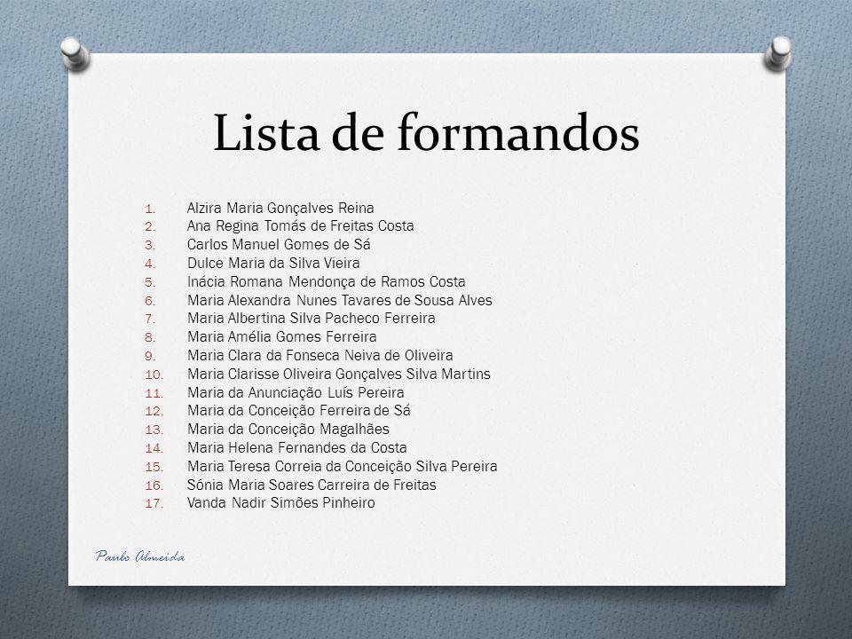 Lista de formandos Paulo Almeida Alzira Maria Gonçalves Reina