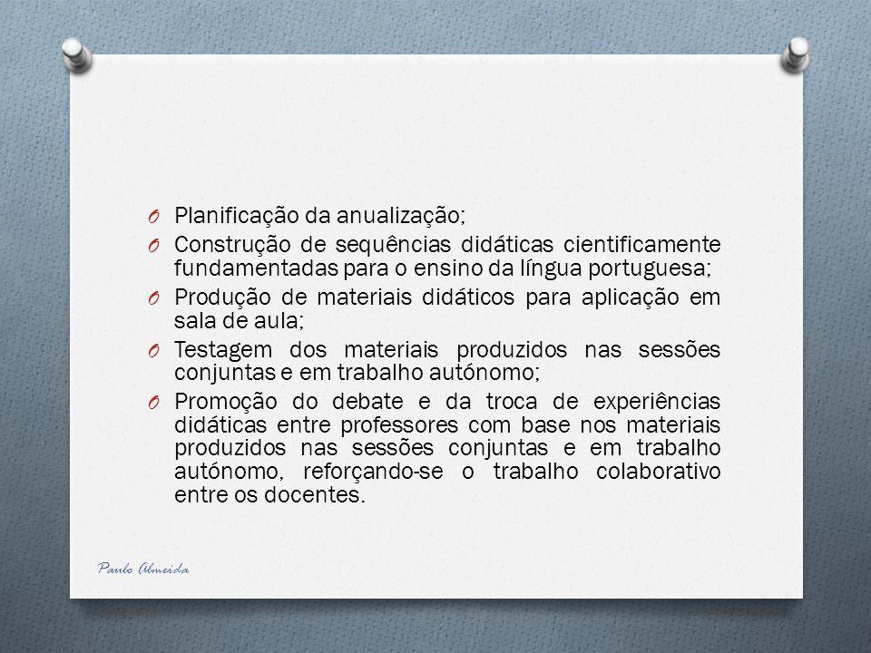 Planificação da anualização;