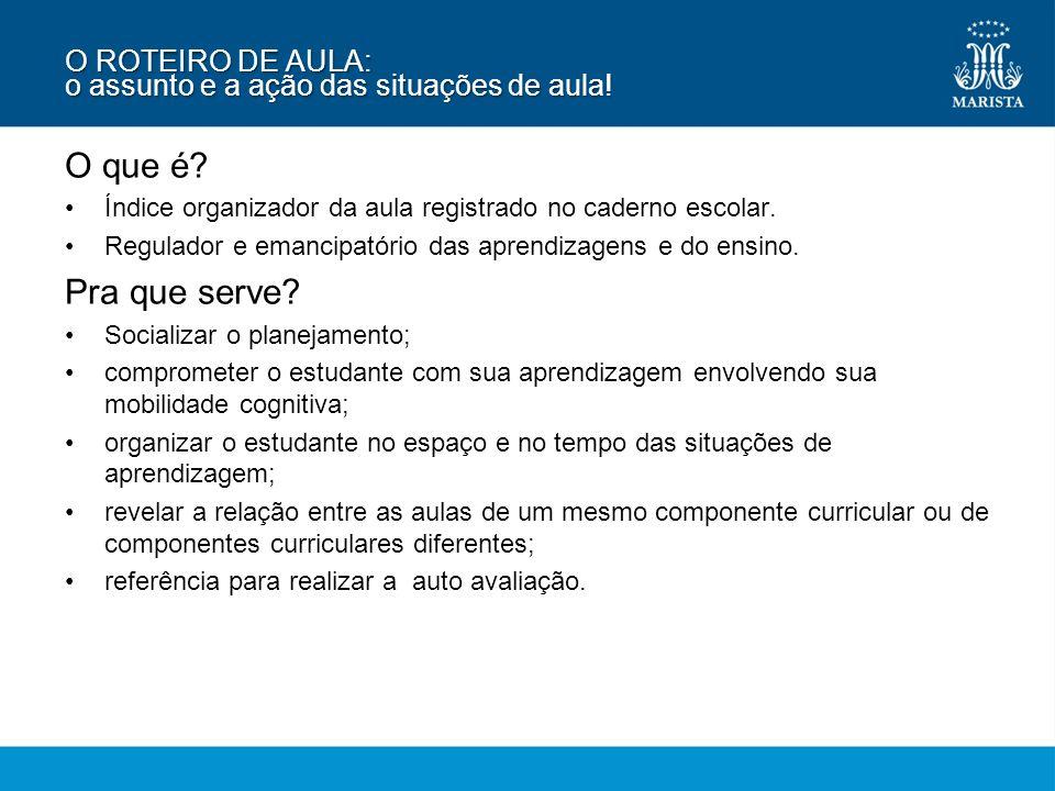 O ROTEIRO DE AULA: o assunto e a ação das situações de aula!
