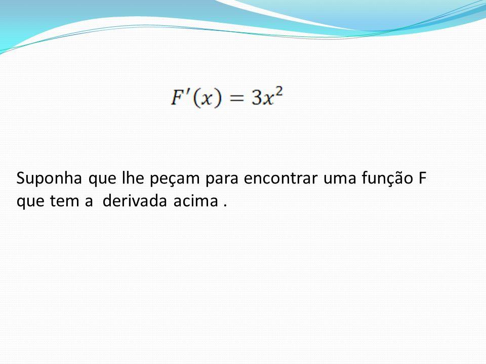 Suponha que lhe peçam para encontrar uma função F que tem a derivada acima .
