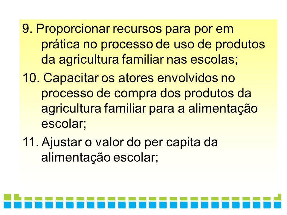 9. Proporcionar recursos para por em prática no processo de uso de produtos da agricultura familiar nas escolas;