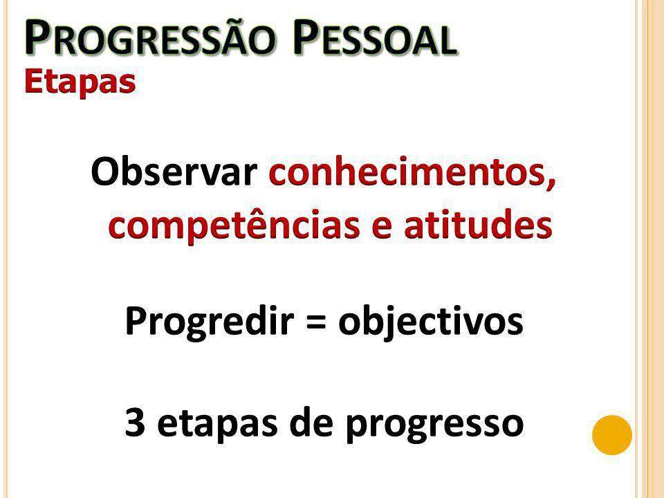 Observar conhecimentos, competências e atitudes Progredir = objectivos