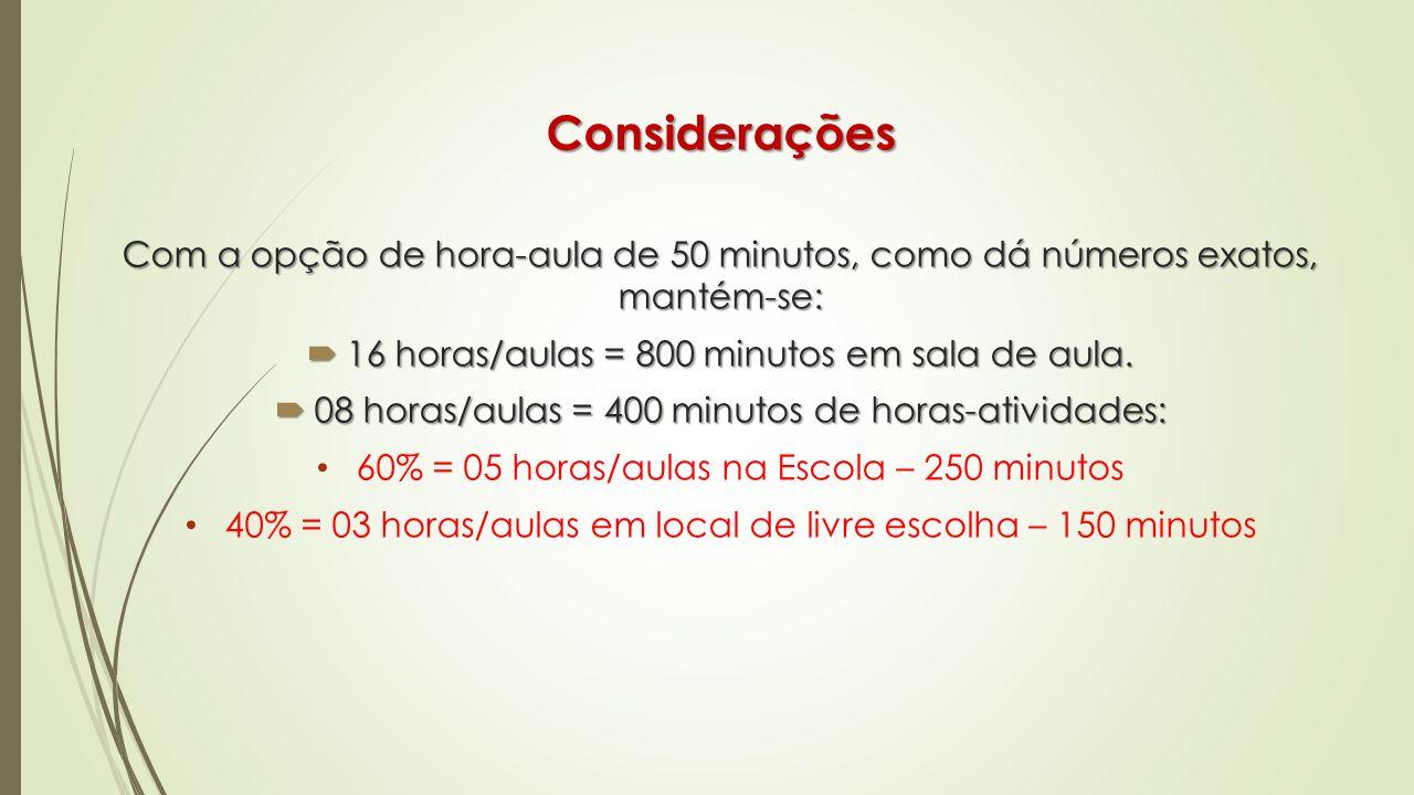 Considerações Com a opção de hora-aula de 50 minutos, como dá números exatos, mantém-se: 16 horas/aulas = 800 minutos em sala de aula.