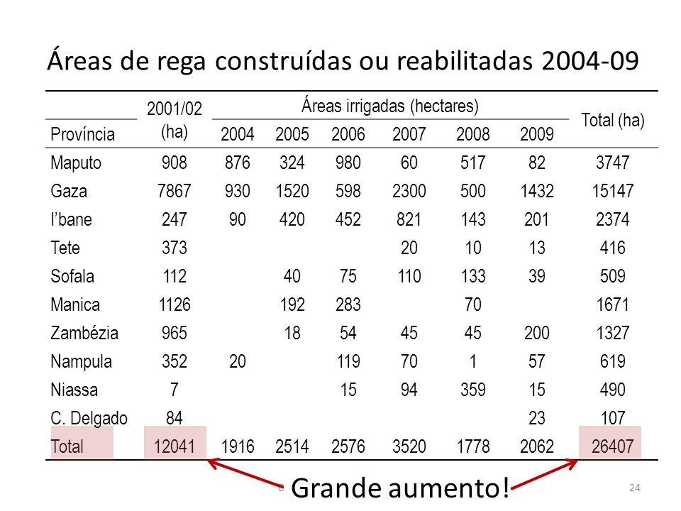 Áreas de rega construídas ou reabilitadas 2004-09