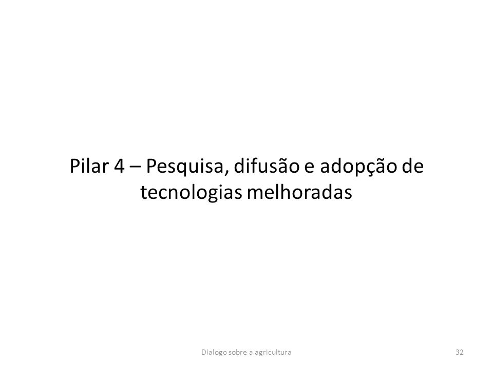 Pilar 4 – Pesquisa, difusão e adopção de tecnologias melhoradas