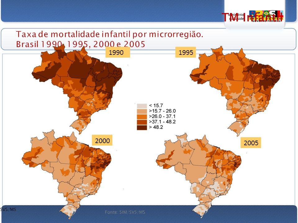 TM Infantil Taxa de mortalidade infantil por microrregião. Brasil 1990, 1995, 2000 e 2005. 2005. 1995.