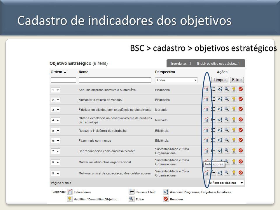 Cadastro de indicadores dos objetivos