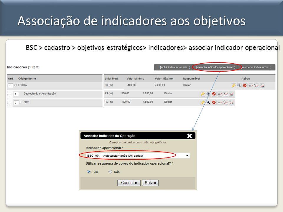 Associação de indicadores aos objetivos