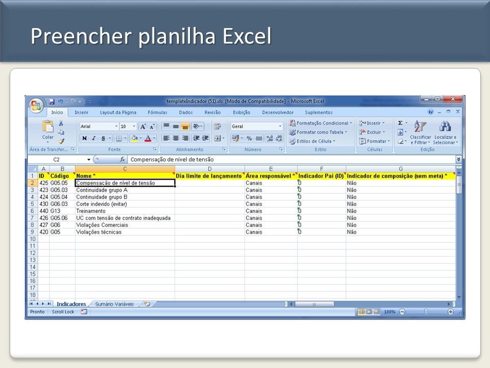Preencher planilha Excel
