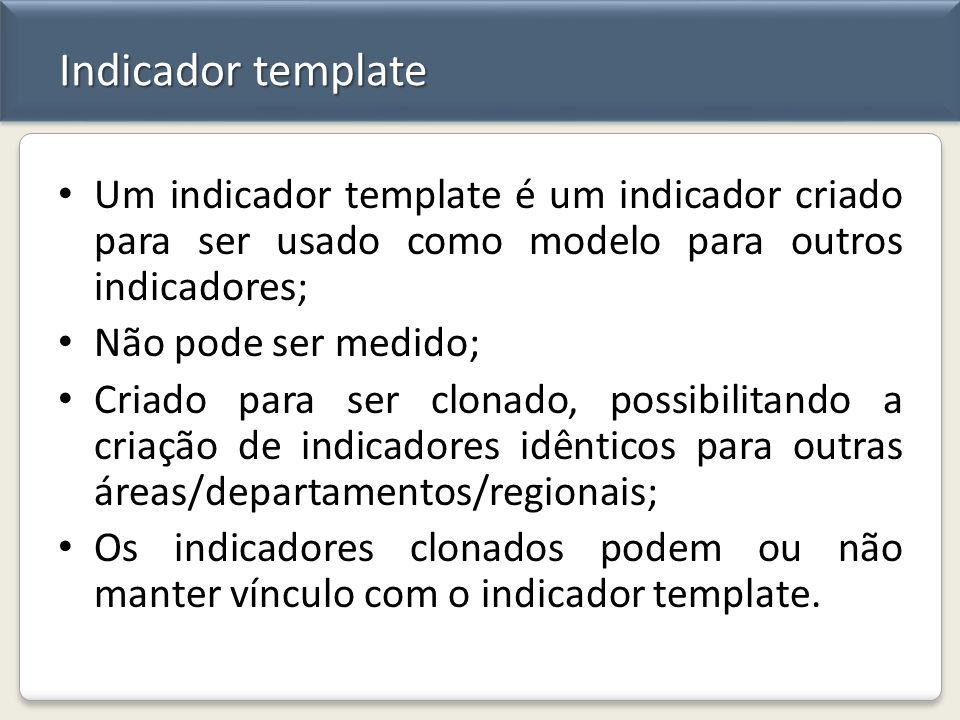 Indicador template Um indicador template é um indicador criado para ser usado como modelo para outros indicadores;