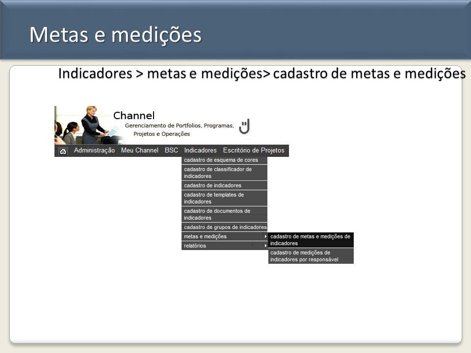 Metas e medições Indicadores > metas e medições> cadastro de metas e medições