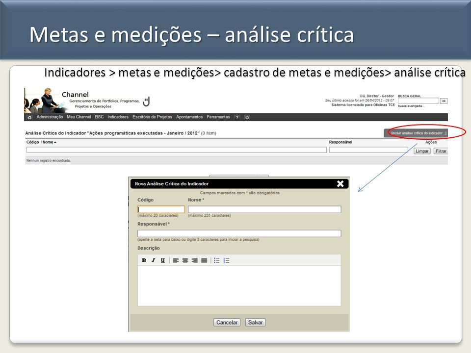 Metas e medições – análise crítica