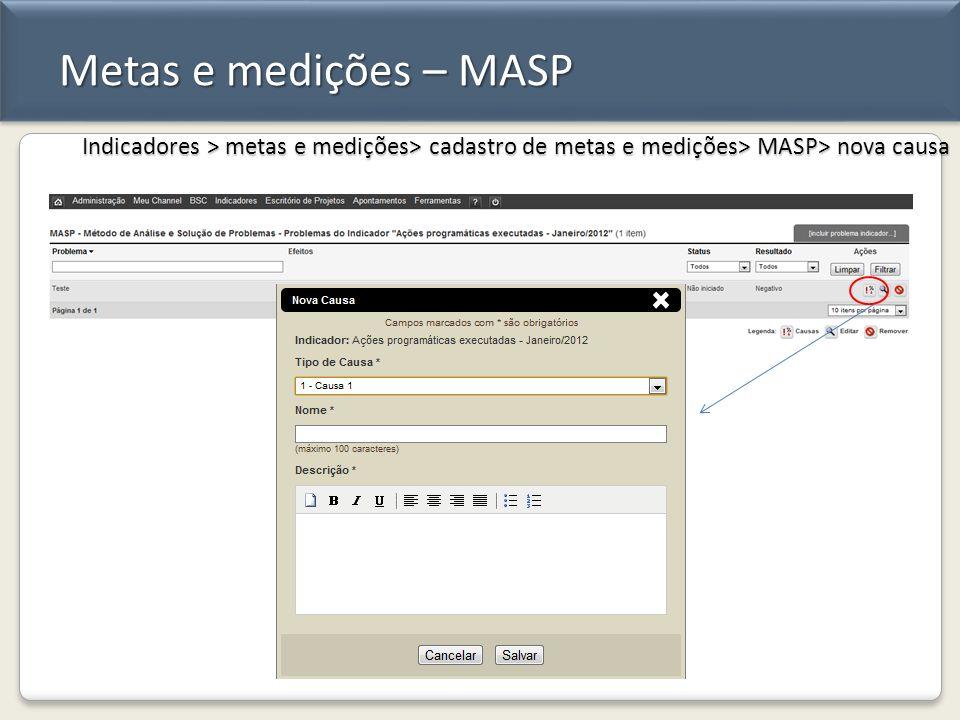 Metas e medições – MASP Indicadores > metas e medições> cadastro de metas e medições> MASP> nova causa.